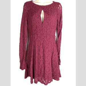 Free People Red Burgundy Lace Sz M Key Hole Party